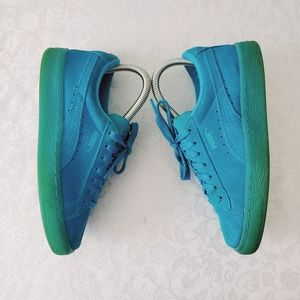 Puma Teal Suede Low Tie Size 5 Child